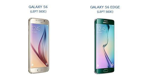 Samsung Galaxy S6 and S6 Edge Left Side View