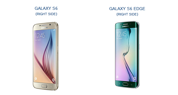 Samsung Galaxy S6 and S6 Edge Right Side View