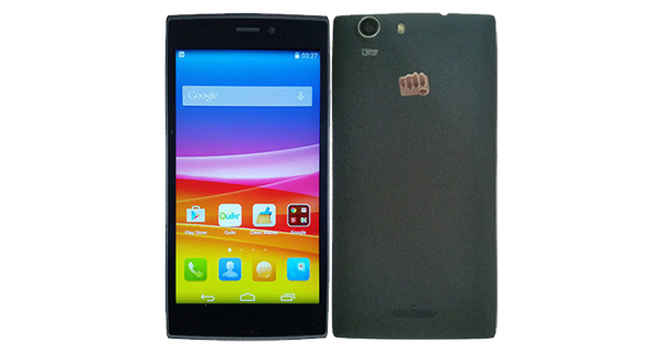 Micromax Canvas Nitro 2 E311 Front and Back view