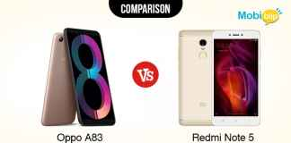 Oppo A83 VS Redmi Note 5